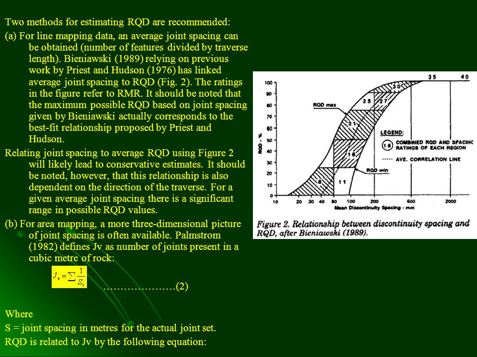1.1 Estimation of RQD, Q and RMR Changes associated with the classification systems are of two forms.