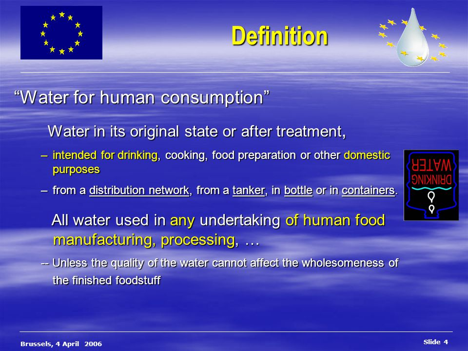 European Commission, DG Environment Slide 15 Brussels, 4 April 2006 The revision of the 98/83/EC Drinking Water Directive The revision of the 98/83/EC Drinking Water Directive First focal point of the revision: Risk assessment & management Water Safety Plans Concept integrated by WHO in 2004 Guidelines for DWQ Control of water production chain source  tap Multi barrier approach Approach of studying and handling risks