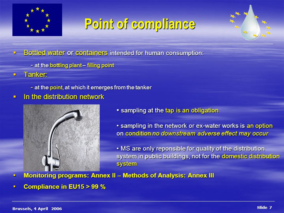 Slide 8 Brussels, 4 April 2006 Domestic Distribution Systems domestic distribution system Shall mean the pipe work, fittings and appliances between the taps and the distribution networks.