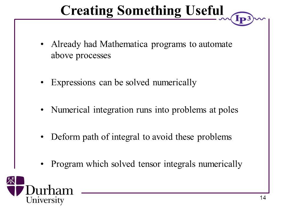 14 Creating Something Useful Already had Mathematica programs to automate above processes Expressions can be solved numerically Numerical integration runs into problems at poles Deform path of integral to avoid these problems Program which solved tensor integrals numerically