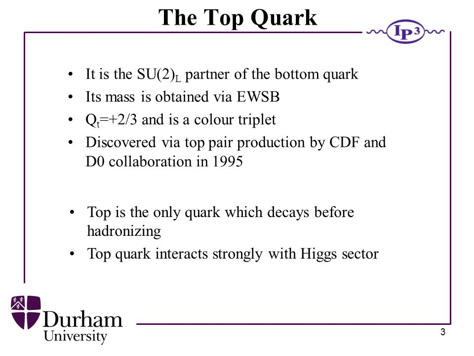 3 The Top Quark It is the SU(2) L partner of the bottom quark Its mass is obtained via EWSB Q t =+2/3 and is a colour triplet Discovered via top pair production by CDF and D0 collaboration in 1995 Top is the only quark which decays before hadronizing Top quark interacts strongly with Higgs sector