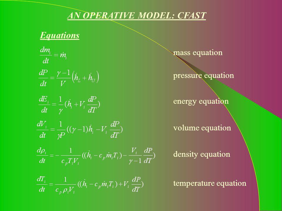 AN OPERATIVE MODEL: CFAST Equations mass equation pressure equation energy equation volume equationdensity equationtemperature equation