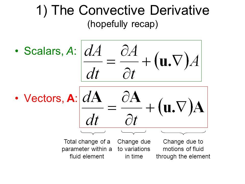 1) The Convective Derivative (hopefully recap) Scalars, A: Vectors, A: Total change of a parameter within a fluid element Change due to motions of fluid through the element Change due to variations in time