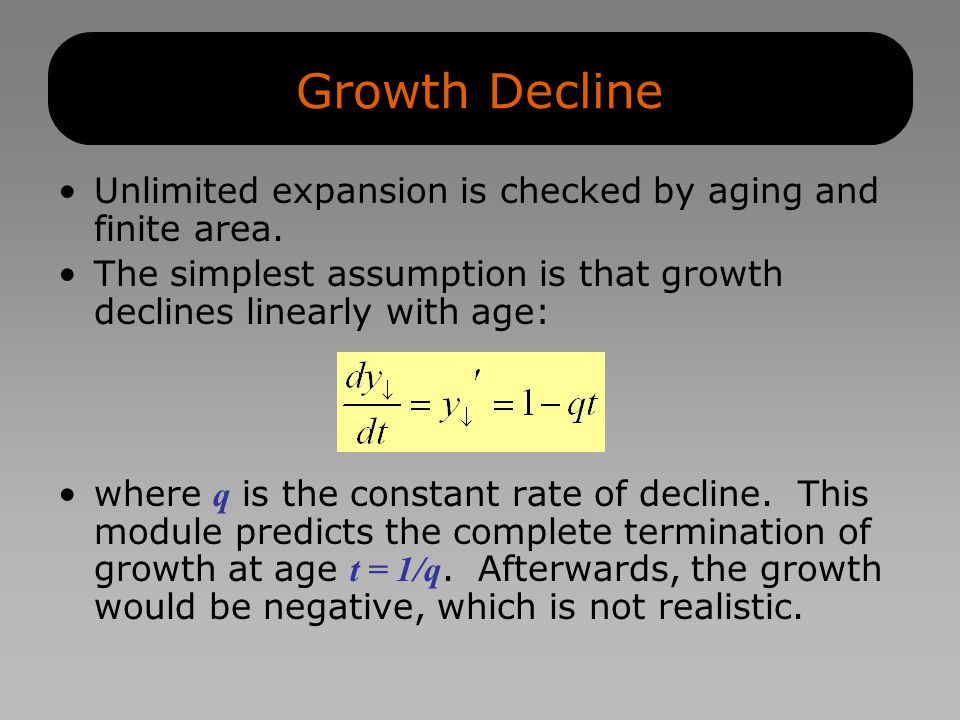 Growth Decline Unlimited expansion is checked by aging and finite area.