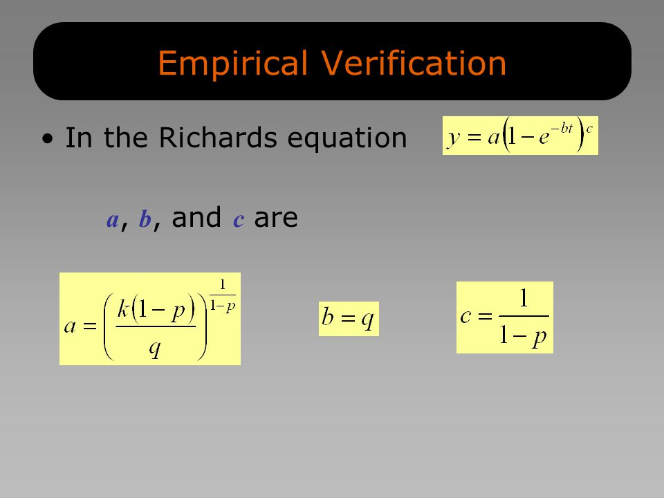 Empirical Verification In the Richards equation a, b, and c are