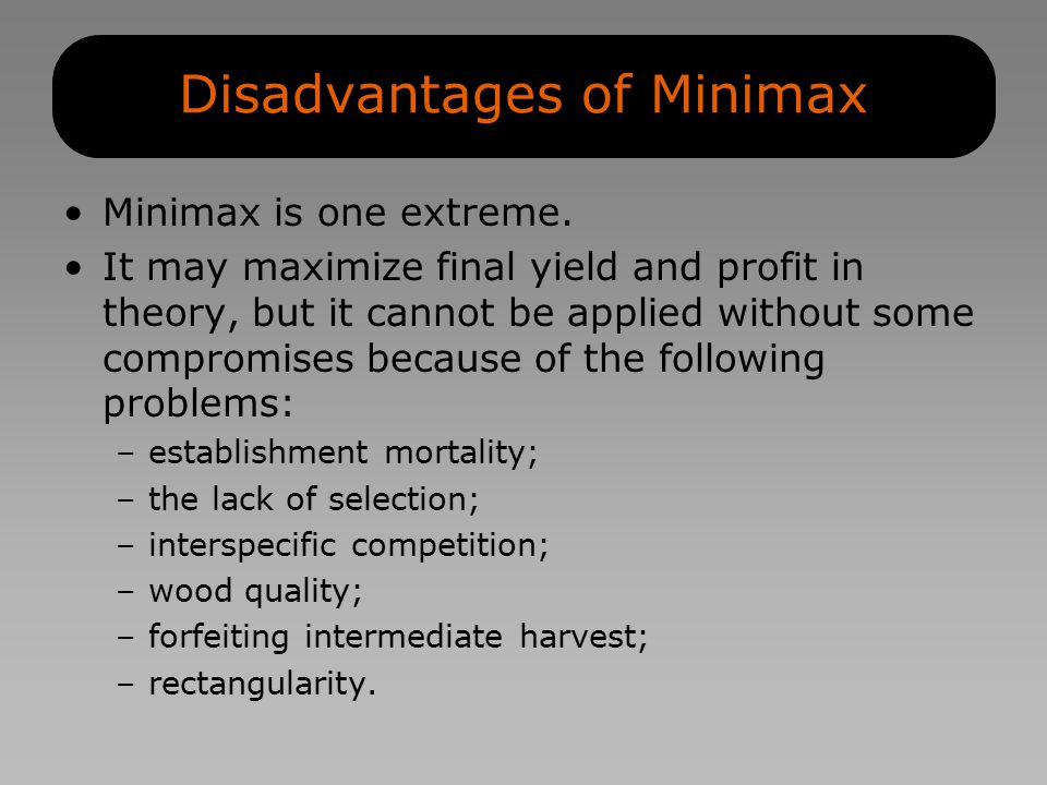 Disadvantages of Minimax Minimax is one extreme.
