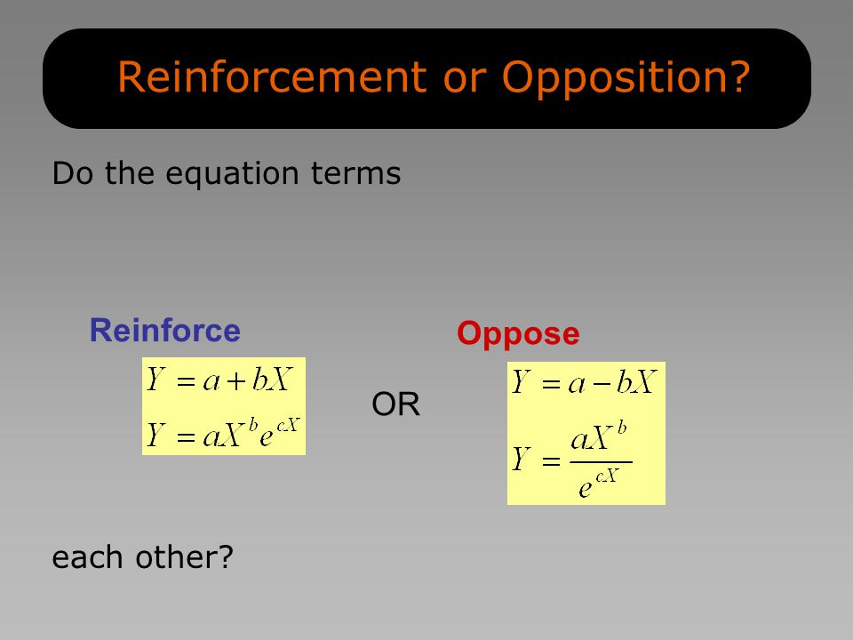 Reinforcement or Opposition? Do the equation terms Reinforce each other? Oppose OR