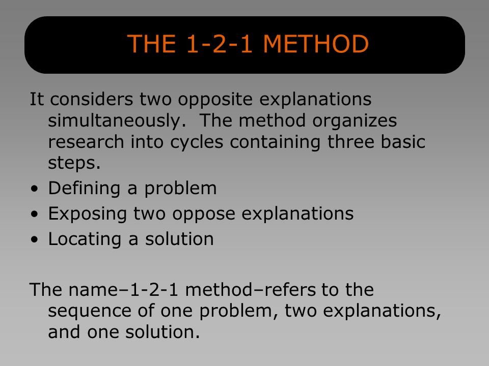 THE 1-2-1 METHOD It considers two opposite explanations simultaneously.