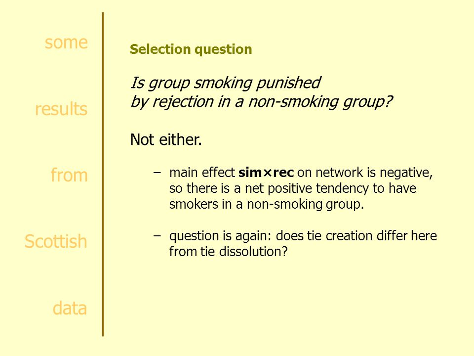 some results from Scottish data Selection question Is group smoking punished by rejection in a non-smoking group.