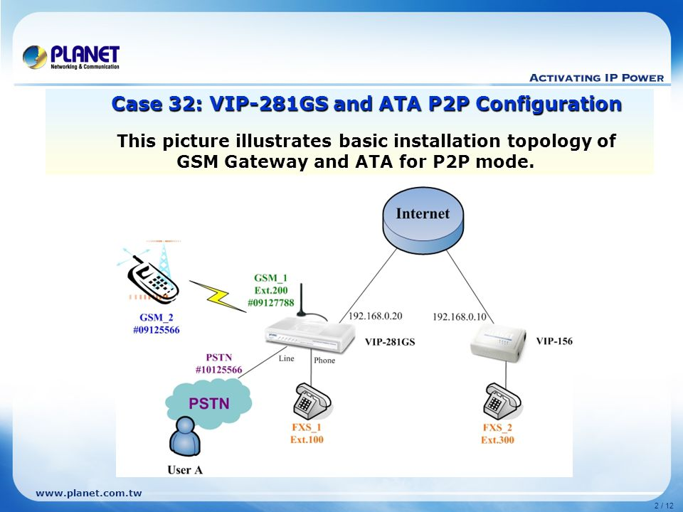 www.planet.com.tw 3 / 12 Select the [ Advance>WAN Setting ] of Gateway to set up the WAN interface for the gateway.