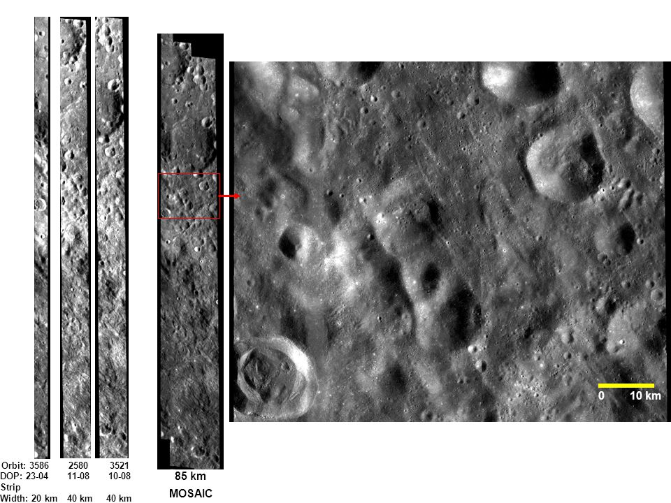 Chandrayaan-1 TMC IMAGE MOSAIC Orbit: 35862580 3521 MOSAIC DOP: 23-0411-08 10-08 Strip Width: 20 km40 km 40 km 0 10 km 85 km
