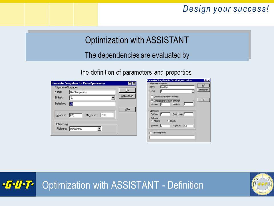 D e s i g n y o u r s u c c e s s ! GIesserei Umwelt Technik GmbH Optimization with ASSISTANT - Definition Optimization with ASSISTANT The dependencie