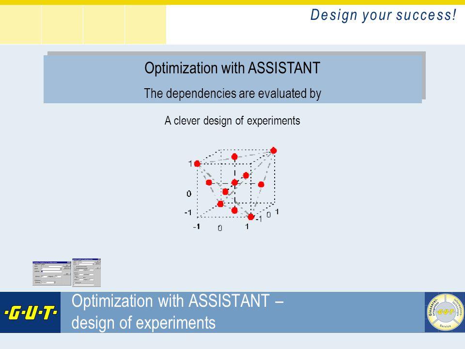 D e s i g n y o u r s u c c e s s ! GIesserei Umwelt Technik GmbH Optimization with ASSISTANT – design of experiments Optimization with ASSISTANT The