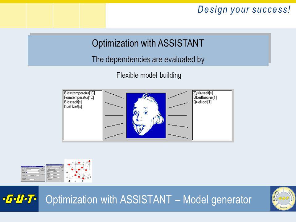 D e s i g n y o u r s u c c e s s ! GIesserei Umwelt Technik GmbH Optimization with ASSISTANT – Model generator Optimization with ASSISTANT The depend