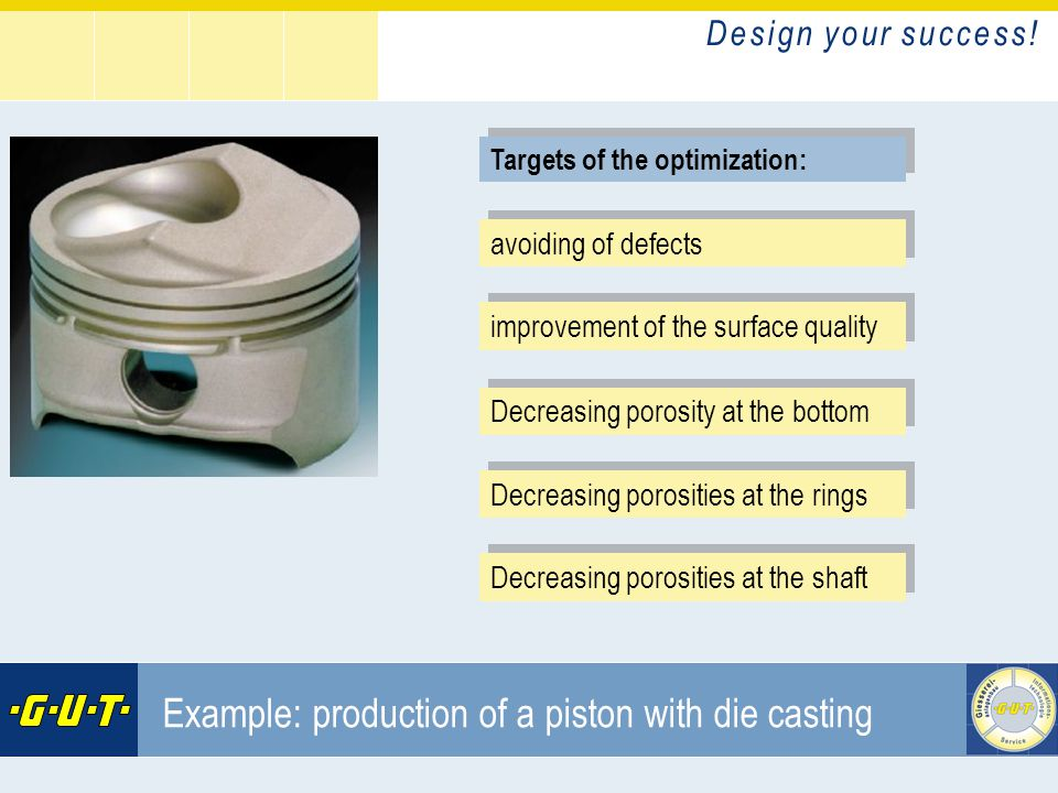 D e s i g n y o u r s u c c e s s ! GIesserei Umwelt Technik GmbH Example: production of a piston with die casting improvement of the surface quality