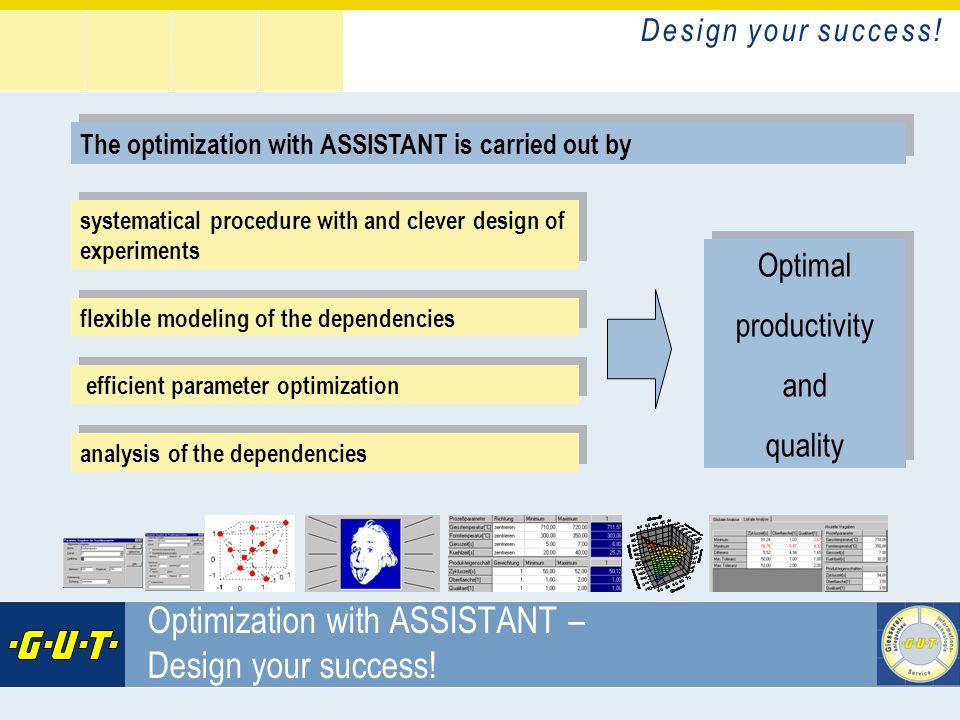 D e s i g n y o u r s u c c e s s ! GIesserei Umwelt Technik GmbH Optimization with ASSISTANT – Design your success! The optimization with ASSISTANT i