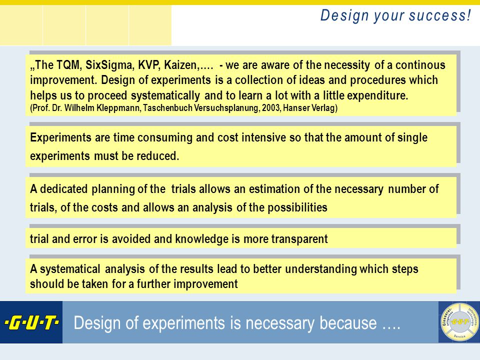 D e s i g n y o u r s u c c e s s ! GIesserei Umwelt Technik GmbH Design of experiments is necessary because …. Experiments are time consuming and cos