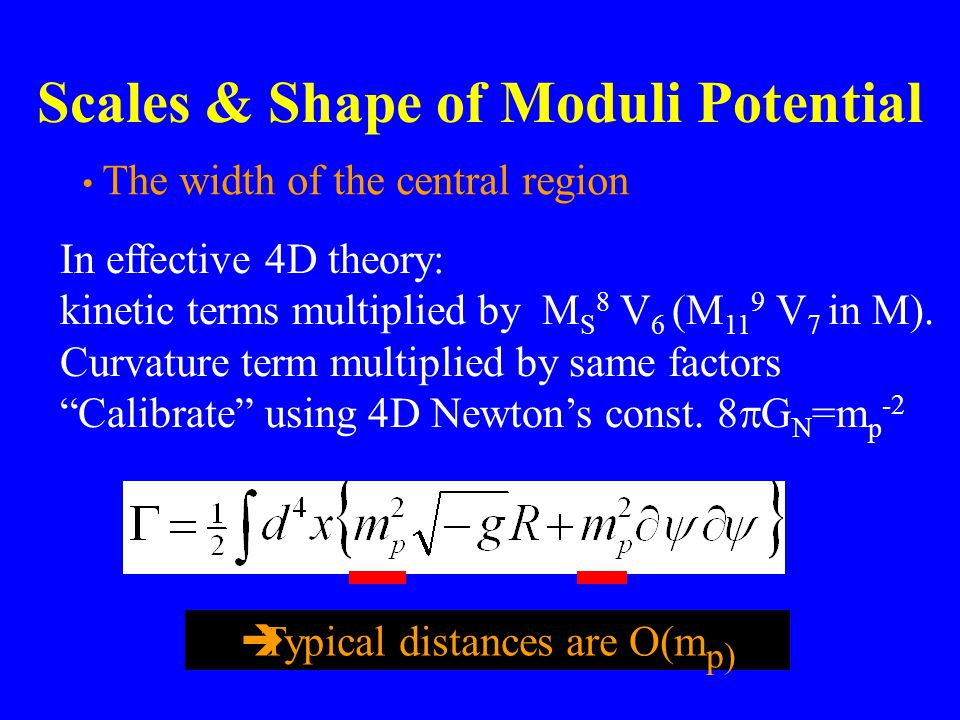 Scales & Shape of Moduli Potential The width of the central region In effective 4D theory: kinetic terms multiplied by M S 8 V 6 (M 11 9 V 7 in M).