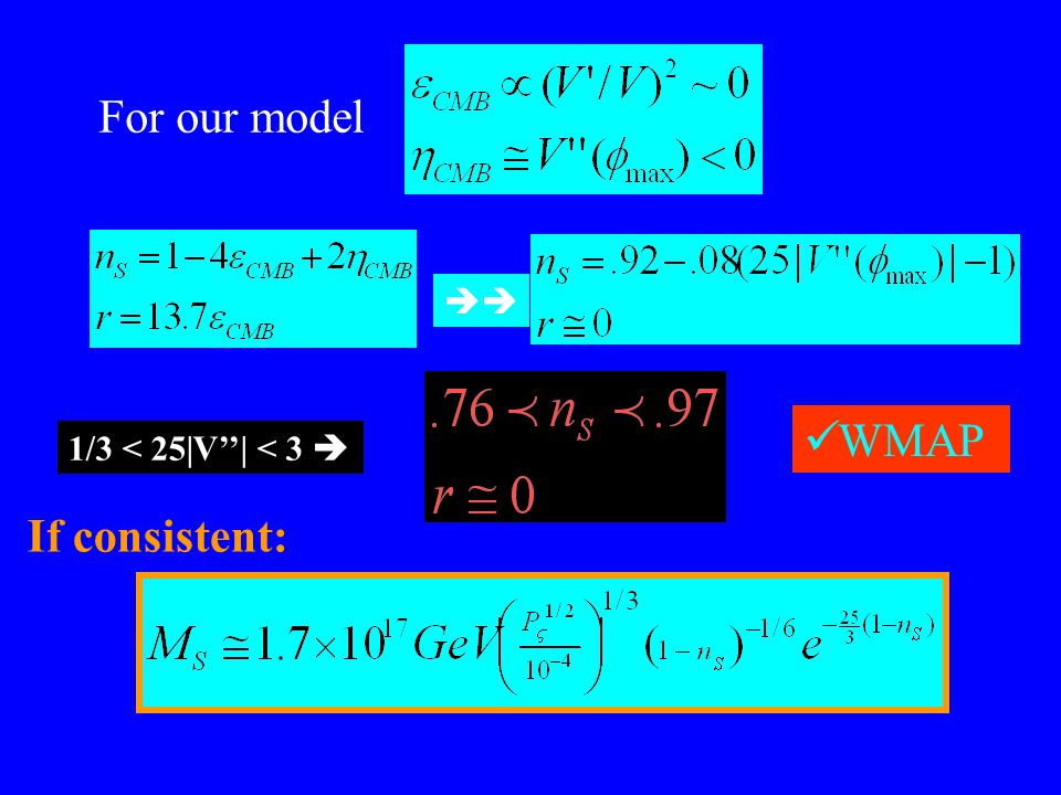  1/3 < 25|V''| < 3  For our model If consistent: WMAP
