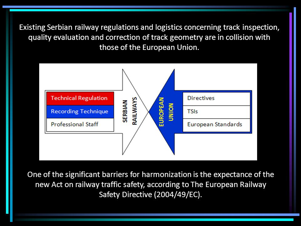 Existing Serbian railway regulations and logistics concerning track inspection, quality evaluation and correction of track geometry are in collision with those of the European Union.