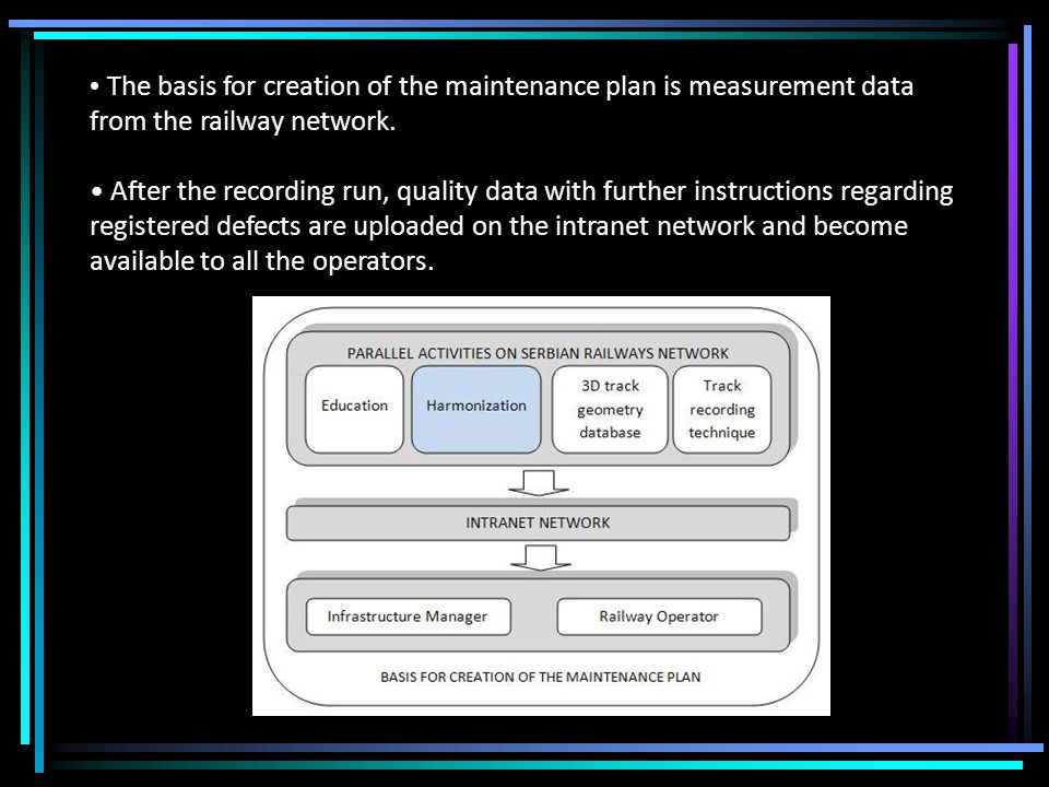 The basis for creation of the maintenance plan is measurement data from the railway network.