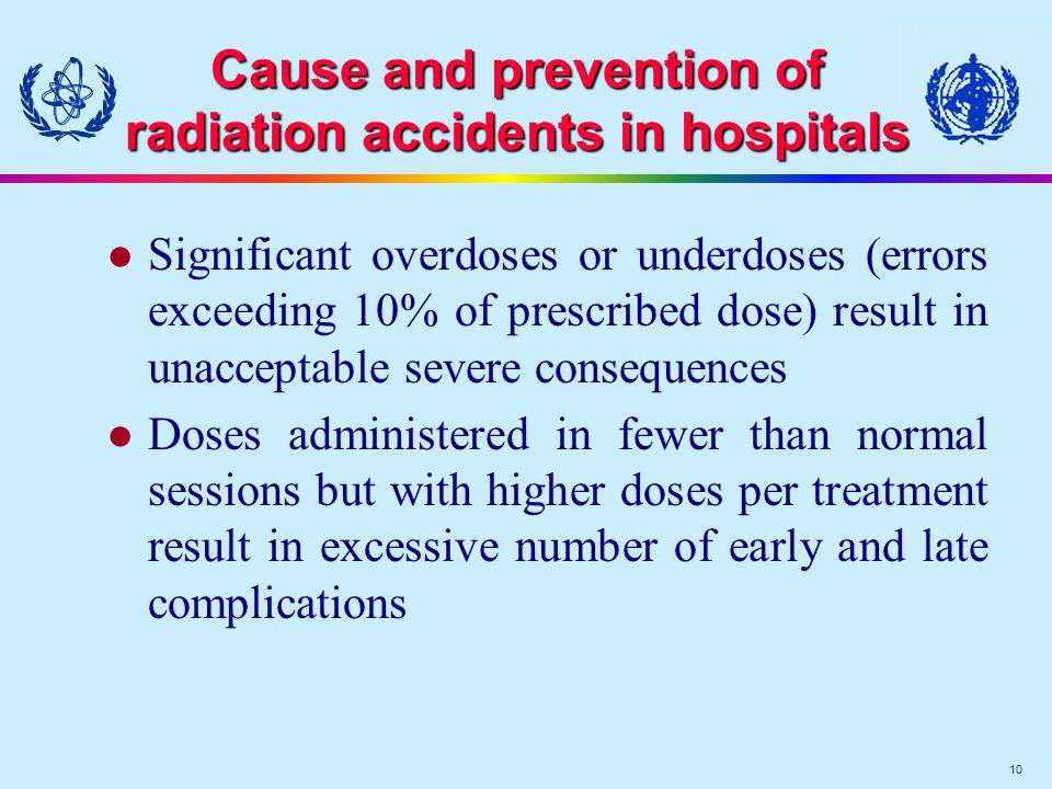 10 Cause and prevention of radiation accidents in hospitals l Significant overdoses or underdoses (errors exceeding 10% of prescribed dose) result in