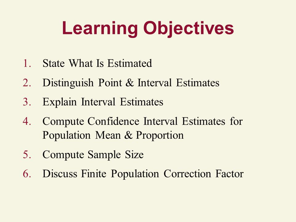 Learning Objectives 1.State What Is Estimated 2.Distinguish Point & Interval Estimates 3.Explain Interval Estimates 4.Compute Confidence Interval Estimates for Population Mean & Proportion 5.Compute Sample Size 6.Discuss Finite Population Correction Factor