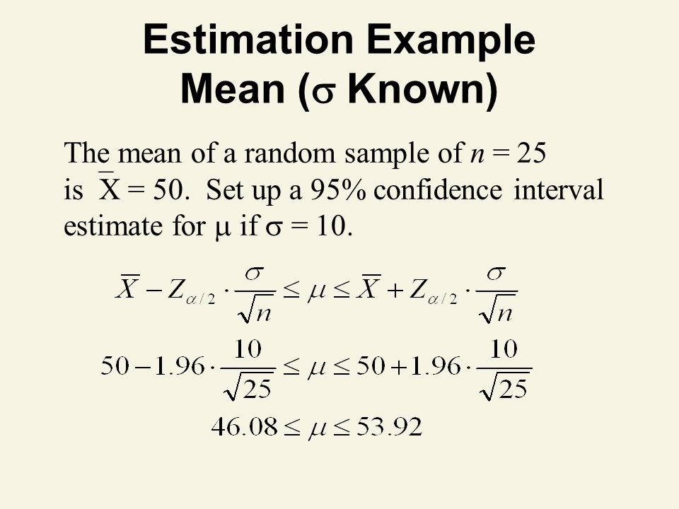 Estimation Example Mean (  Known) The mean of a random sample of n = 25 is  X = 50.