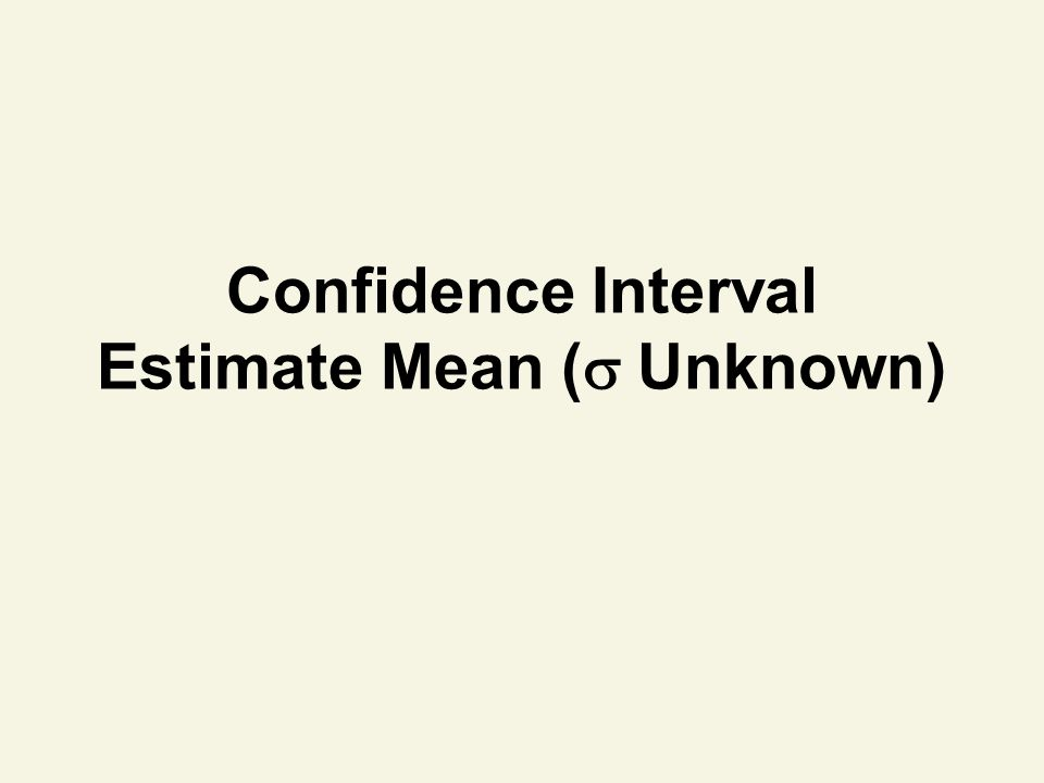 Confidence Interval Estimate Mean (  Unknown)