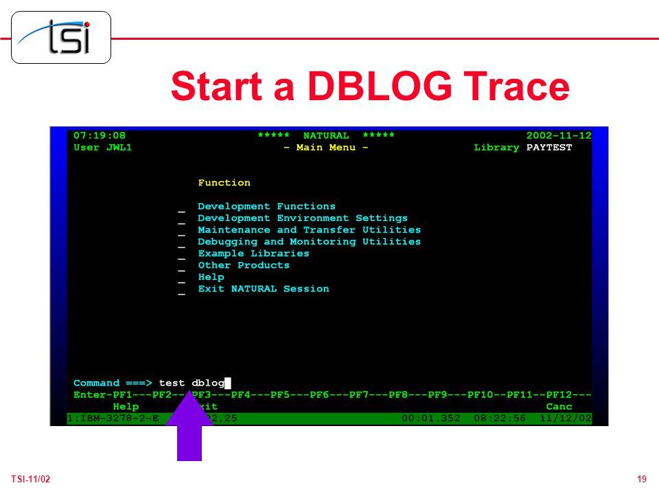 19TSI-11/02 Start a DBLOG Trace