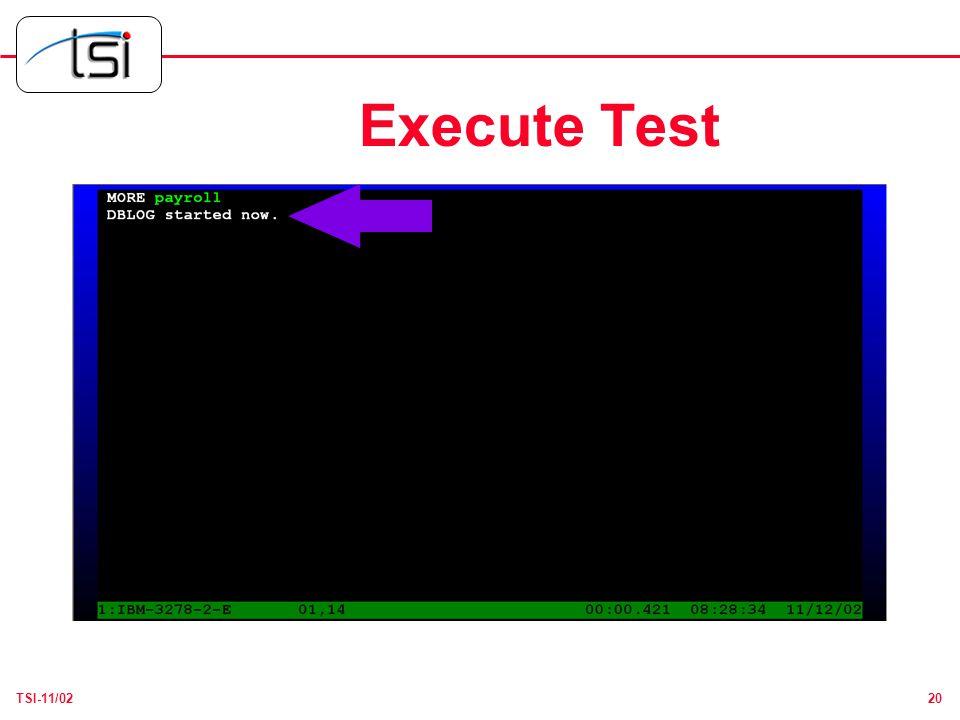 20TSI-11/02 Execute Test
