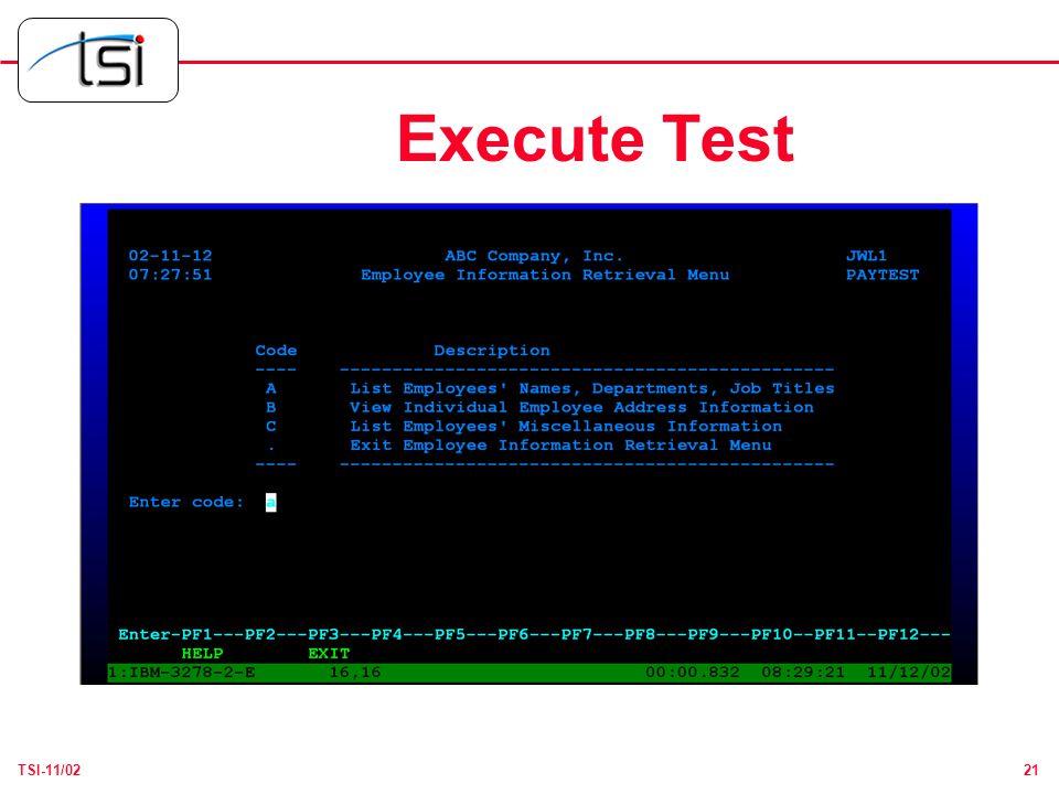21TSI-11/02 Execute Test