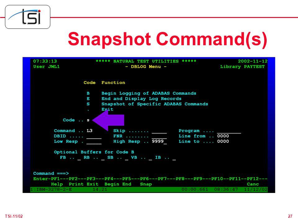 27TSI-11/02 Snapshot Command(s)