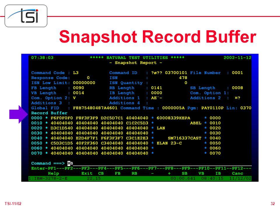 32TSI-11/02 Snapshot Record Buffer