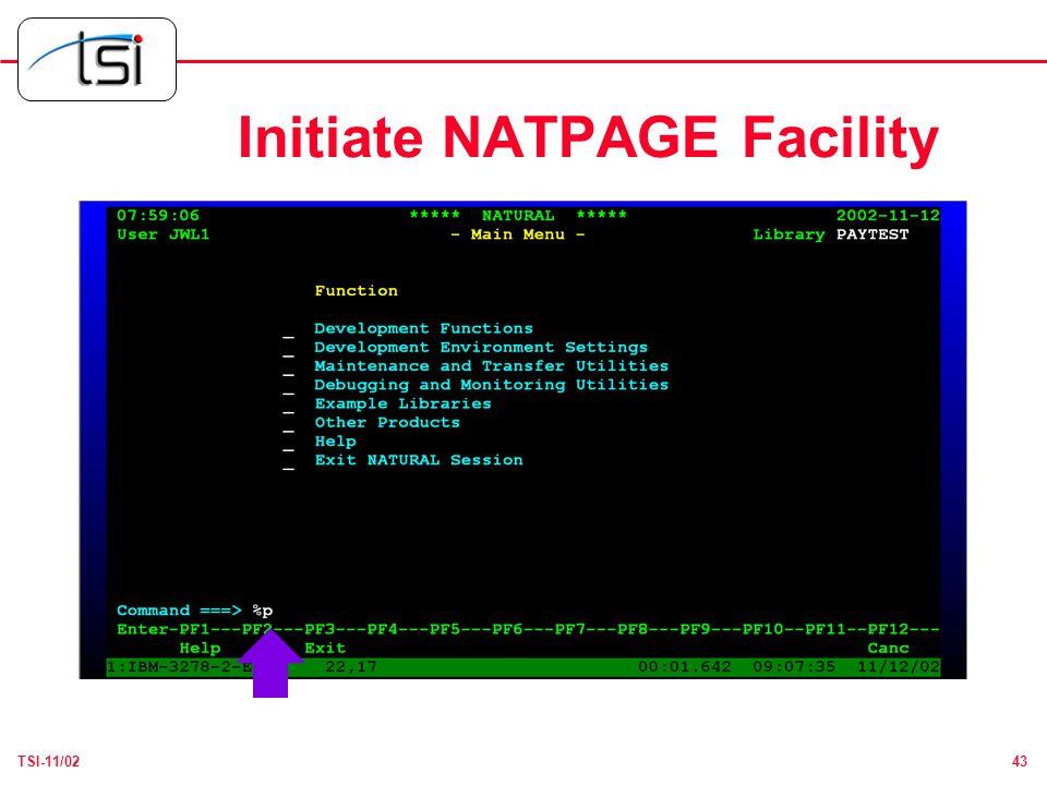 43TSI-11/02 Initiate NATPAGE Facility