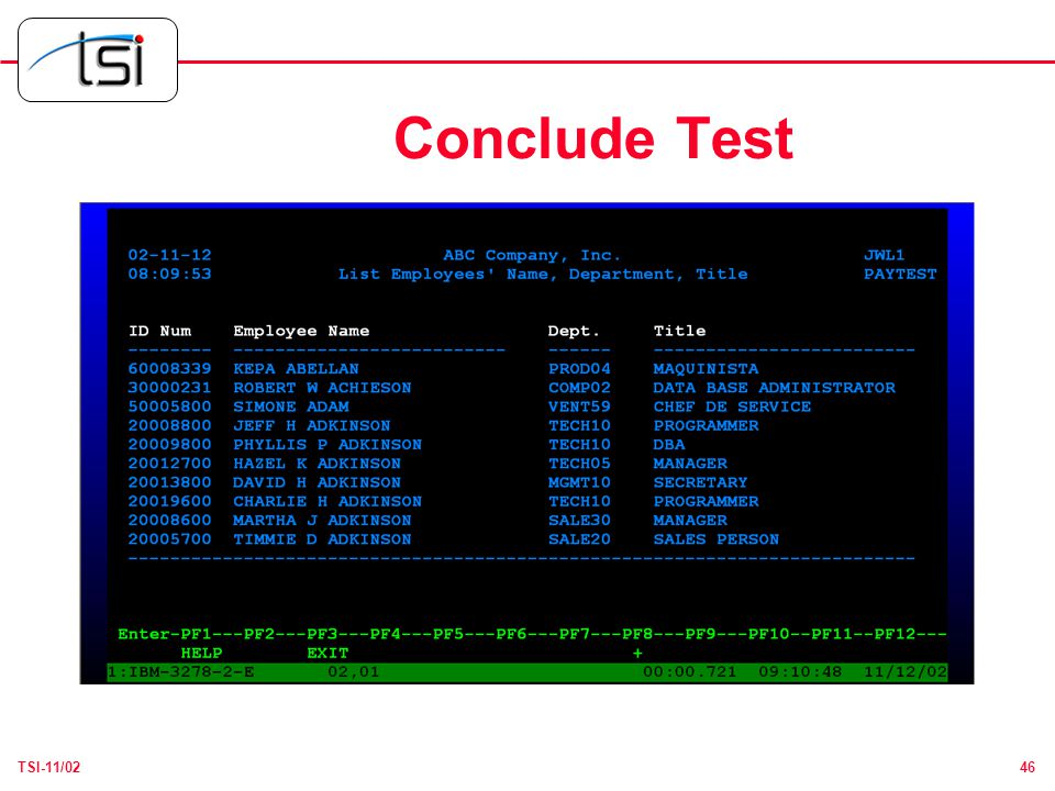 46TSI-11/02 Conclude Test