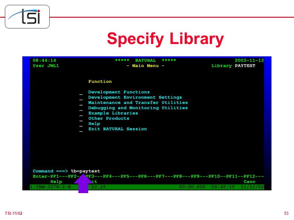 53TSI-11/02 Specify Library