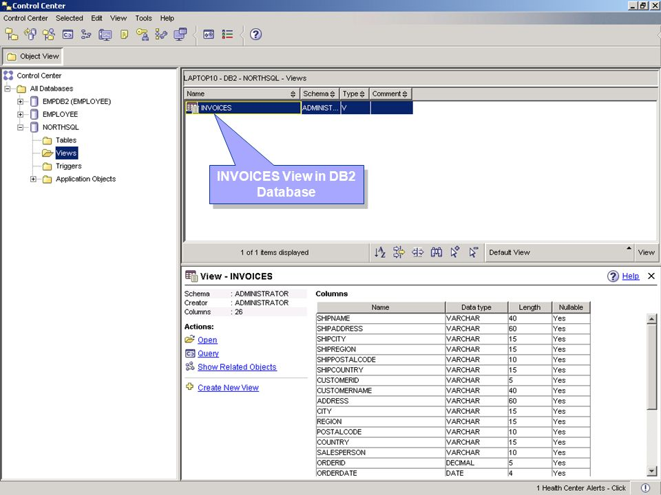 INVOICES View in DB2 Database