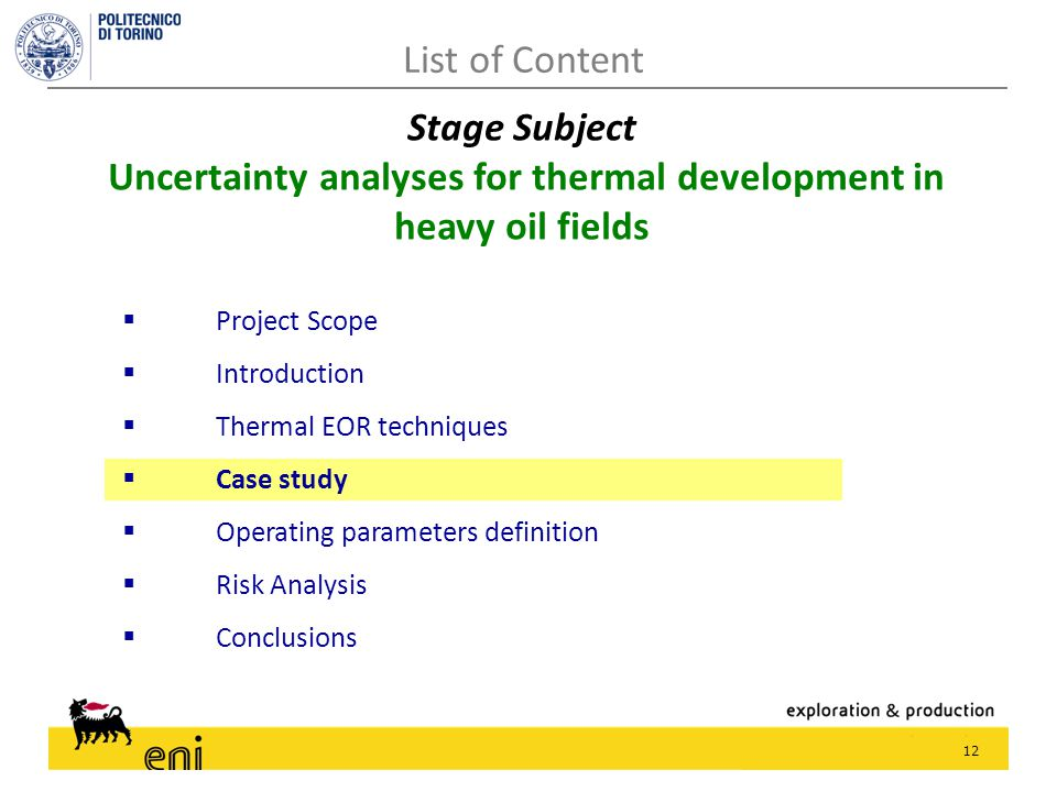 12  Project Scope  Introduction  Thermal EOR techniques  Case study  Operating parameters definition  Risk Analysis  Conclusions List of Conten