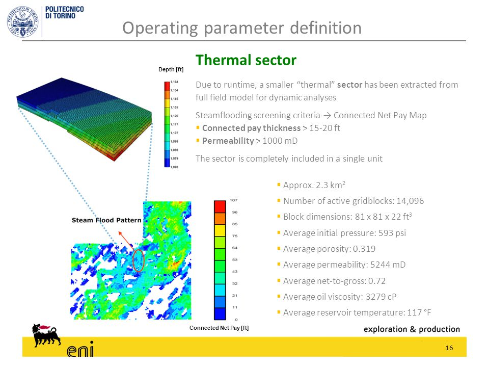 """16 Operating parameter definition Due to runtime, a smaller """"thermal"""" sector has been extracted from full field model for dynamic analyses Steamfloodi"""