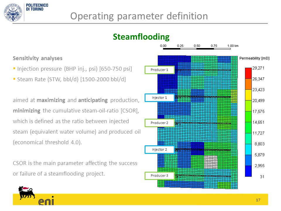 17 Sensitivity analyses  Injection pressure (BHP inj., psi) [650-750 psi]  Steam Rate (STW, bbl/d) [1500-2000 bbl/d] aimed at maximizing and anticipating production, minimizing the cumulative steam-oil-ratio [CSOR], which is defined as the ratio between injected steam (equivalent water volume) and produced oil (economical threshold 4.0).