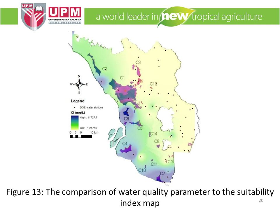 Figure 13: The comparison of water quality parameter to the suitability index map 20