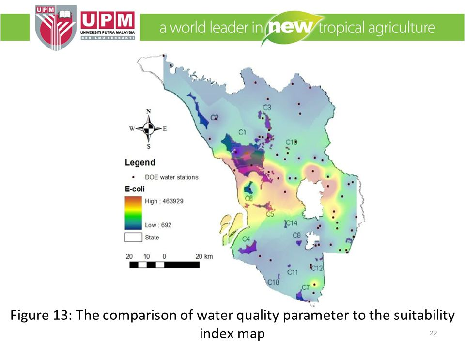 22 Figure 13: The comparison of water quality parameter to the suitability index map