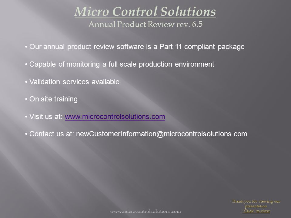 www.microcontrolsolutions.com Micro Control Solutions Annual Product Review rev.