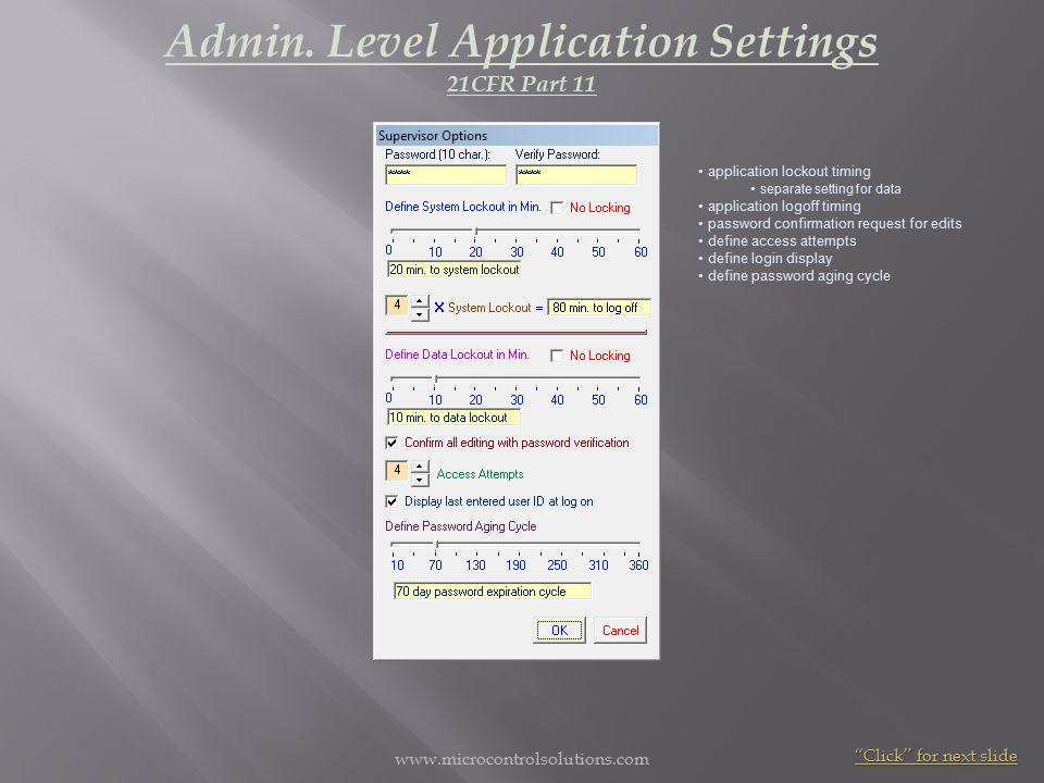 www.microcontrolsolutions.com individually assign a user's application access define manufacturing user access define QC user access define data merging default Admin.