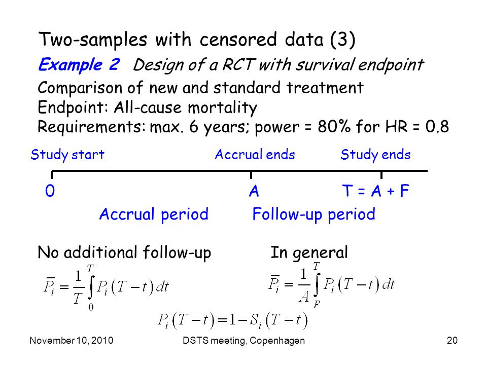 November 10, 2010DSTS meeting, Copenhagen20 Two-samples with censored data (3) Example 2 Design of a RCT with survival endpoint Comparison of new and standard treatment Endpoint: All-cause mortality Requirements: max.