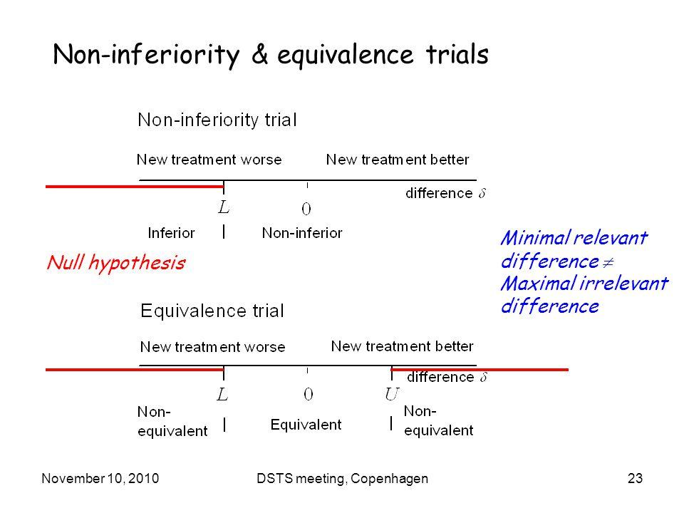 November 10, 2010DSTS meeting, Copenhagen23 Non-inferiority & equivalence trials Null hypothesis Minimal relevant difference  Maximal irrelevant difference