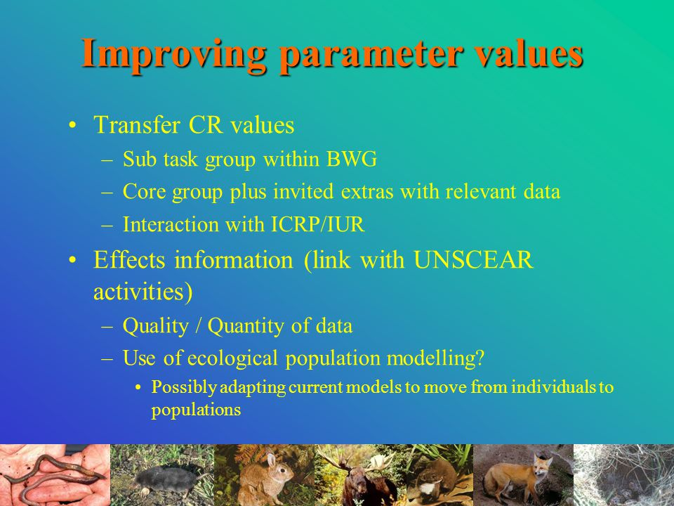 Improving parameter values Transfer CR values –Sub task group within BWG –Core group plus invited extras with relevant data –Interaction with ICRP/IUR Effects information (link with UNSCEAR activities) –Quality / Quantity of data –Use of ecological population modelling.
