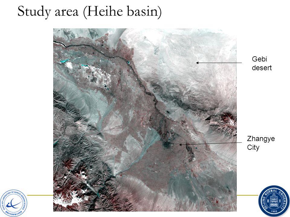 Study area (Heihe basin) Gebi desert Zhangye City