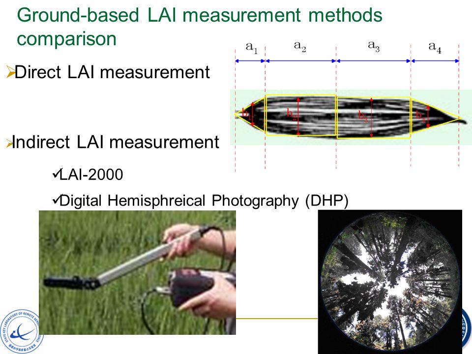 Ground-based LAI measurement methods comparison LAI-2000  Direct LAI measurement  Indirect LAI measurement Digital Hemisphreical Photography (DHP)